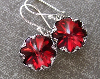 Garnet Red Earrings Sterling Silver Swarovski Deep Red Crystal Earrings Red Dangle Earrings Red Drop Earrings