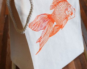 Reusable Lunch Bag - Screen Printed Recycled Cotton Lunch Bag - Eco Friendly Lunch Box - Goldfish - Canvas Tote Bag - Lunch Sack - Handmade