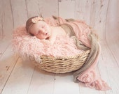 SET Pink and Putty Stretch Knit Baby Wraps Newborn Photography Prop