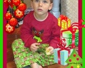 Boys Christmas pajama sets...Your choice of  fabrics and tee! Great for pictures with Santa!