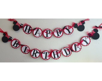 Red Polka Dot Minnie Mouse Birthday Banner