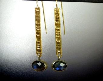 Handmade Sterling Silver Gold Vermeil Earrings with Checkercut  Labradorite - Long  Earrings - Egyptian - Oblivion Jewellery - Jewelry