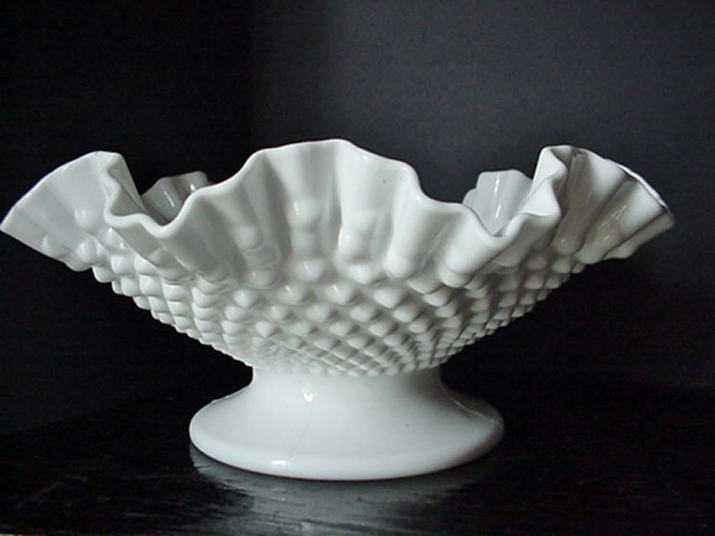 White Milk Glass Ruffled-Hobnail Fruit Bowl Milk Glass Serving