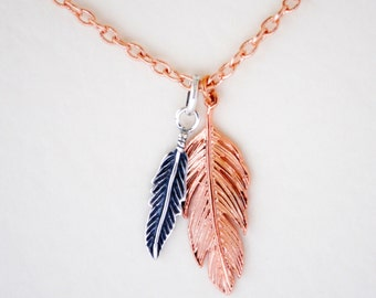 Feather Necklace, Rose Gold Feather, Sterling Silver, Feathers Pendant, Boho, Festival, Angels, Feather Charms, Love Hope Faith, Angel Wing