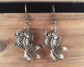 Adorable 3D Goldfish Earrings in Antiqued bronze color