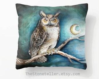 "Pillow ..PRINT art.. animal art - woodland art - fine art -living room - childrens room - nursery - babies - """" Moon owl"""""