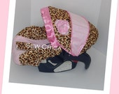 Light Pink Minky/Leopard MInky Infant Baby Car Seat Cover with Bling Flower~Ready To Ship