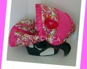 Morning Glory/Hot Pink MInky Dot Infant Baby Car Seat Cover with Bling Flower-Ready To Ship