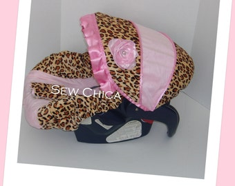 SALE-Light Pink Minky/Leopard MInky Infant Baby Car Seat Cover with Bling Flower~Ready To Ship