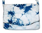 Handmade Royal Blue and White Lambskin Leather Embroidered Purse