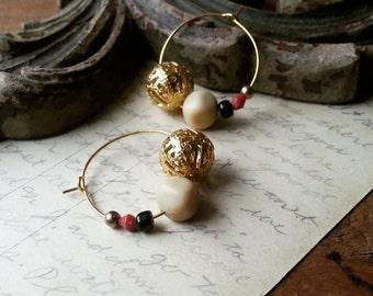 Small Beaded Hoop Earrings, Gold, Raspberry, Black Vintage Bead Earrings, Eco Friendly Jewelry for Women