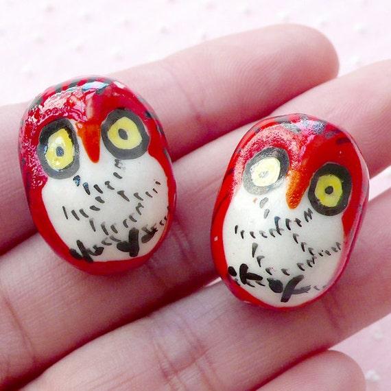 3d owl porcelain bead ceramic bead pottery by