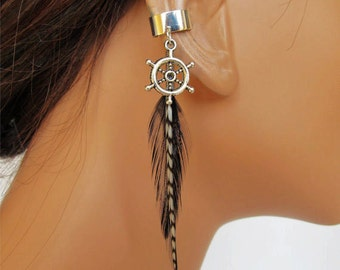 Boho Silver Ear Cuff Wrap Black Feathers Cartilage Non Pierced Ship Wheel Charm