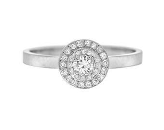 Diamond Engagement Ring, Diamond Halo Engagement Ring, Pave Halo Ring, Double Halo, Pave Ring, Gold, April Birthstone, Mother's Ring, Nixin