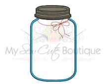 Mason Jar Applique Design -  Fruit Jar Applique Design - Machine Embroidery Design - 12 Sizes