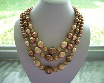 Vintage Triple Strand Bead Necklace