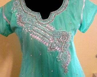 Jeweled Dress.  Sheer Dress.Indie Dress. Bohemian Dress