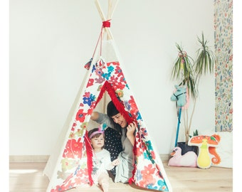 Tipi with poles: 5 pole kids children indoor outdoor playtent, tipi, teepee, tepee, wigwam, indian tent with window - with poles