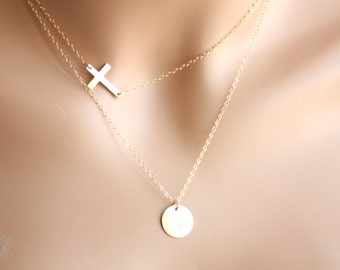 Delicate Personalized layer necklace, Double necklace Initial Disc/sideways Cross 14K gold filled, customized engraved letter, Holiday gifts