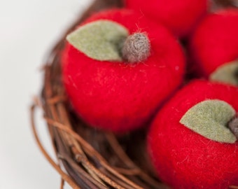 Needle felted fresh apples set of 2