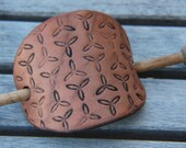 Geometric Celtic Triforce Carved Stamped Tooled Leather Stick Barrette Hair Clip