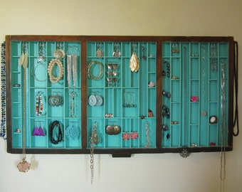 Antique printer's tray letterpress jewelry display