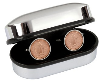 9th Anniversary Gift -  2008 Mint Copper Coins - Irish Lucky Coin Cufflinks - Presentation box included - 100% satisfaction