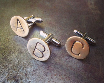 Custom INITIAL Cuff Links -  Personalized Cufflinks - Hand Stamped Brass - Any 2 LETTERS - Initials, WEDDING Groomsmen Groom