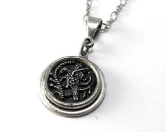 Vintage Tropical Bird Necklace Antique Parrot Button, Vintage Button Necklace, Victorian Steampunk Jewelry by Compass Rose Design