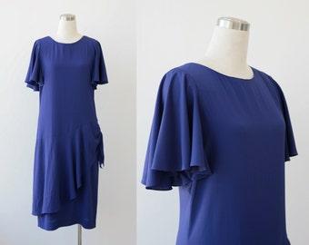 Violet Blue Drop Waist Dress  M L Angle sleeve Susan Howard California 1980's Cocktail Party Dress