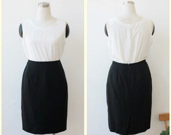 on SALE. Black Silk Skirt M L, Ellie Tahari Knee Length Black Skirt Large size 10