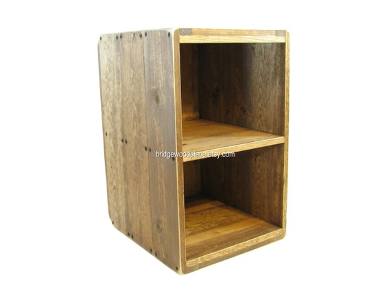 Wood crate table furniture side table rustic by for Wooden crate bedside table