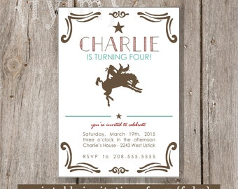 COWBOY WILD WEST Party Printable Party Invitations - I design - You Print