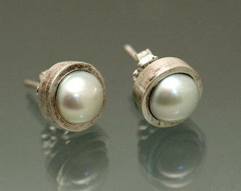 """Modern White Pearl Sterling Silver Studs, blackened brushed finish, 3/8"""" in size"""