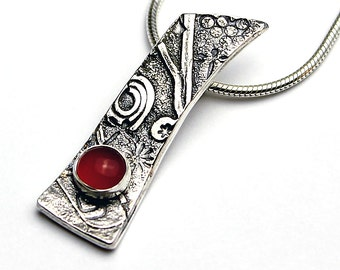 Handcrafted Sterling Silver Pendant Carnelian Natural Stone Fused Texture Sterling Collage Design Contemporary Artisan Jewelry 6282464221115