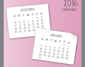 2016 Calendar Clip Art in Handwritten Style