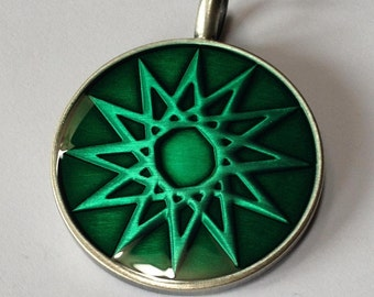 Pewter Starburst Pendant - Turquoise Epoxy Resin over Starburst Pattern - Lead Free