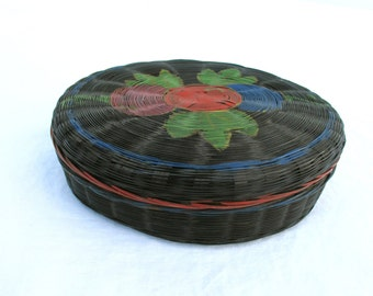 Vintage Basket Victorian Flower Detail Vintage Basket Box Container Lid Antique Organizer Wicker Basket
