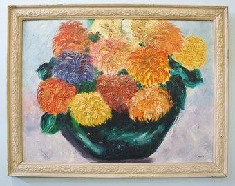 Vintage Painting of Lush Chrysanthemums in white Carved Wood Frame