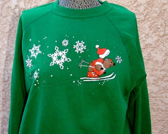 Vintage 1980's Ugly Christmas Sweater with Skiing Bear