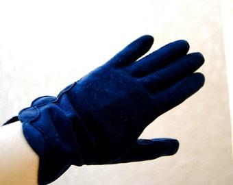 Vintage Midnight Blue Crescendoe Leather Gloves