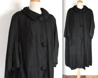 Vintage 1950's Swing Coat // 40s 50s Black Silk Trapeze Coat // DIVINE
