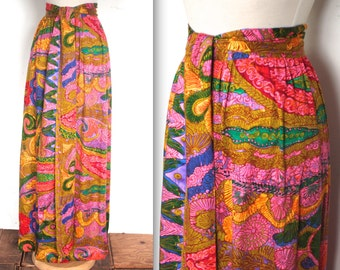 Vintage 1960s Skirt // 60s Psychedelic Print High Waist Skirt // Valley of the Dolls