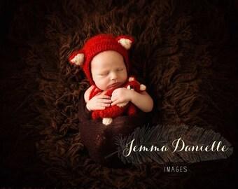 New born mohair fox bonnet and mini bear set