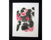 Abstract, India ink and watercolour on rice paper, Red and Black, Japanese sumi-e