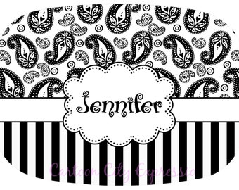 Personalized Monogram Melamine Platter 13 x 9 Black and White Stripes Paisley