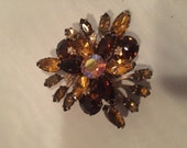 Chocolate Lucious Crystal  brooch