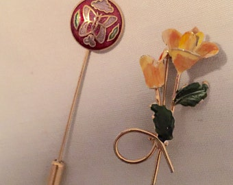 Butterflies and Yellow Roses brooches