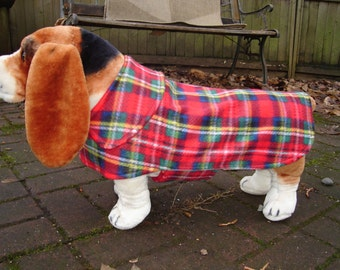 Red Tartan Plaid Fleece Dog Coat- Size Medium- 16 - 18 Inch Back Length - Or Custom Size