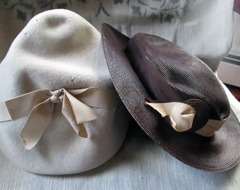Vintage Hats Felt Cloche and Chocolate Straw